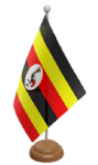 Uganda Desk / Table Flag with wooden stand and base